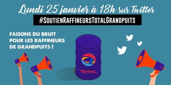 Grande campagne de soutien aux raffineurs sur Twitter ce lundi 18h contre le black-out médiatique !