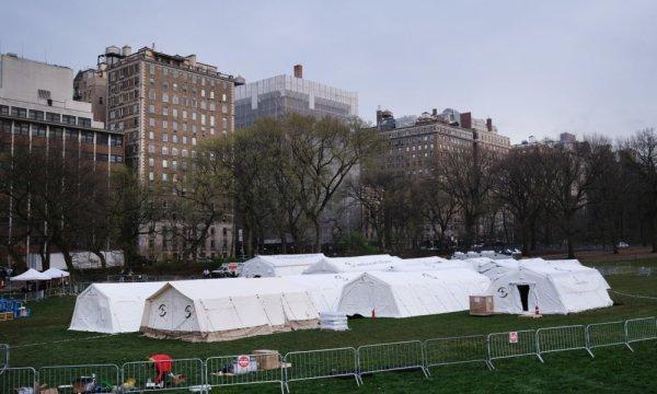 Etats-Unis. La Protection Civile fait appel à un groupe d'ultra-droite anti-LGBTQ+ pour construire un hôpital de fortune à Central Park